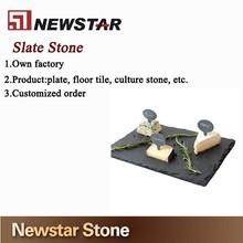 Commercial natural stone black slate dinner plate