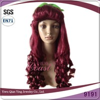Beauty curly burgundy high quality synthetic poison ivy cosplay party wig