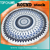 wholesale stock round beach towels mandala with tassel