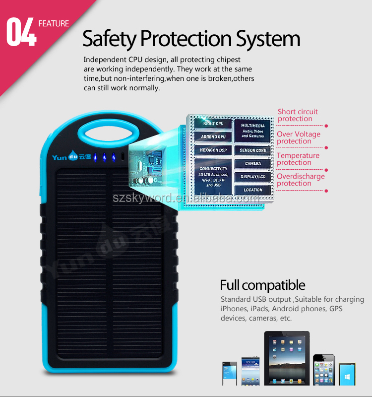 ONE YEAR WARRANTY!!!5000mAh!hot selling fashion design solar power bank Waterproof Solar Power Bank for mobile phone