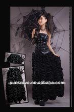 Punk rave china al por mayor negro gótico largo falda hecha en china q-104