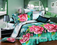 Cheap Polyester 3d Colorful Flower Printed Bedroom Set bed sheet duvet cover pillow case