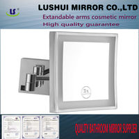 """8""""*8"""" LED light hotel bathroom makeup wall shaving LED wall mirror with pressed metal mirror"""