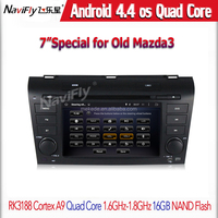 Car dvd player quad core Android 4.4 GPS/USB/SD Player for Mazda 3 2007 2008 2009 Steering Wheel Control With 3G Host BT