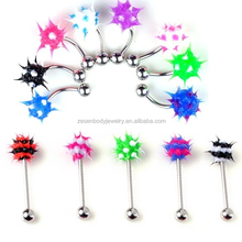 Mixed Colors Silicone Spike Koosh Ball Banana Curved Barbell Ring Belly Button Ring Body Piercing Jewelry