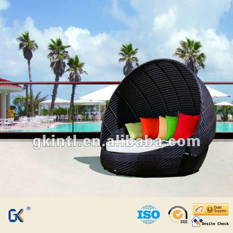 Factory Manufacturer Direct Wholesale Poly PE synthetic rattan /wicker outdoor daybed with canpoy