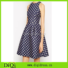 Latest dress design photo, unique women wave point 100% polyester sexy fashion clothing