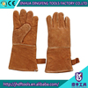 CE 14 inch brown welding gloves cow split leather long sleeve work gloves