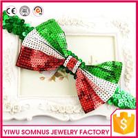 HB-51 Stocks sequins bow elastic baby christmas funny headband