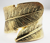 Vintage Indian antique gold plated feather cuff bangle Bracelet for women