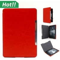 Red Color 2015 Luxury Leather New Kindle Paperwhite Case Magnet Smart Cover For Amazon New KP With Sleep and Wake Up Function