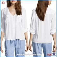 Compras en línea de China de seda blanca blusa para mujer
