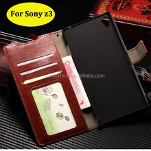 Newest style photo frame card cash slots stand holder leather phone case for sony z3