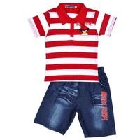 New2015 Summer Children Clothing Baby Boys Short-sleeved kids polo set Striped T-shirts +Short Jeans children outdoor Wear