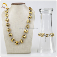 gold beans jewelry set stainless steel fashion bracelet and necklace