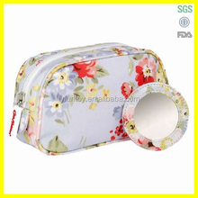 Travel toiletry bag with mirror cosmetic bag satin bag
