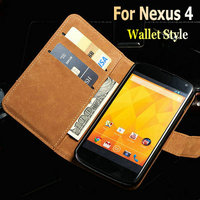 For LG Google Nexus 4 E960 Genuine Leather Wallet Stand Case Phone Bag Cover Wallet Style