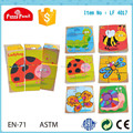 2014 Nuevo diseño precioso cubo rompecabezas de madera para niños LF 4017 con tema de insectos