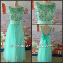 New Design Sleeveless Diamond Beaded Tulle Backless Bow Ready To Ship Prom Dresses