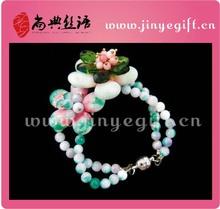 Joyería hecha a mano de la flor del jade del grano de la pulsera de piedra natural de la manera