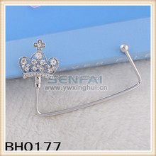 Creative cross crown series metal foldable table top cheap bag hanger/hook for women wholesale price