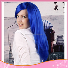 Long Straight Heat Resisitant Ladies Fringe Wig,Kanekalon Synthetic Blue Hair Peruca Wig,long Cosplay Wig anime