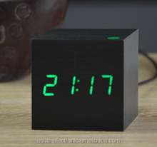 Lowest Price High Quality Wood square 13 colors selectable LED Alarm Digital Desk Clock Wooden Thermometer clock