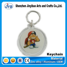 New style wholesale photo round or rectangle acrylic keychain with insert paper