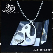 fashion accessory+love heart crystal pendant +charm stainless steel pendant