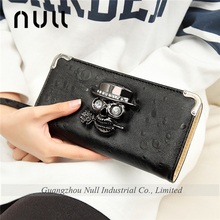 Black punk skull decoration cool lady purses long zippered leather wallet