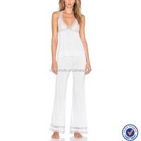 Mature women sexy sleepwear adult pajamas two piece lace trim women sleepwear