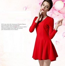 Women lady girl Casual Dresses 8026 # wter female was th waist dress elegant big red V-neck long-sleeved big swg sheds