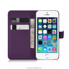 Flip Wallet PU Leather Stand Case For Apple iPhone 5S Free Screen protector