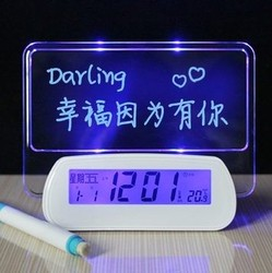 LED decorative clock with message board,recordable message clock message board clock