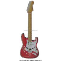 MDF Shaped Clock Guitar Red