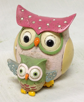 2.75 inch L Mum & baby owl souvenirs resin animal
