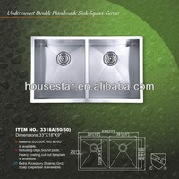 CUPC SS304 quite good handmade stainless steel sink, utility sink for kitchen/laundry/outdoor/farm---3318A(50/50)
