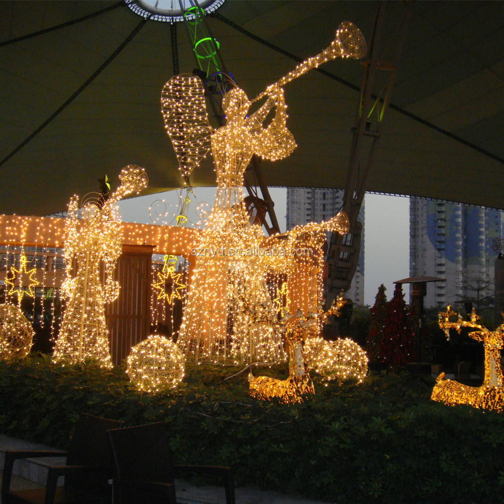 Hot sale beautiful 3d angel motif light outdoor chritmas for 3d christmas decoration