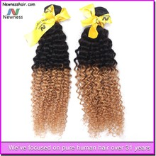 new fashion! wholesale cheap virgin human hair high quality huamn hair extension ombre synthetic hair extension