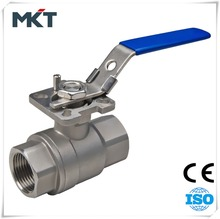 WenZhou Manufacturer PN64 Stainless Steel 316 2-PC Ball Valve With High Mounting Pad Blow-Out Proof Stem