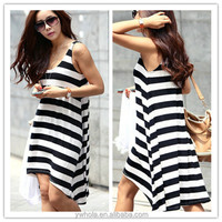 Wholesale Cheap Summer Casual Black And White Girls' Dress