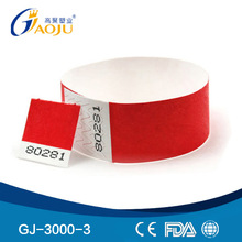 GJ-3000-3 Wholesale Professional Adult Size Tyvek Material Adhesive style waterproof paper wristband