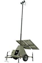 600 Watt Solar Power Generator with Light Tower Mast - Four 90W LED Light Heads - Pneumatic Mast
