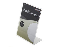Clear Acrylic Sign Holder Display for Tabletop Use, L-Shaped Design with Slant Back