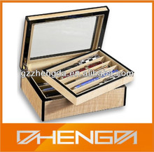 High quality custom made-in-china wooden pen box set with glass top (ZDS-F004)