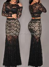 2015 OEM elegant backless / one shoulder / long sleeve evening dress sexy lady dress cotton design