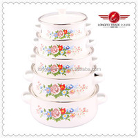 New Design Flower Decals 5pcs White Enamel Cookware