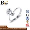 el último de la moda las mujeres s925 joyería de plata de diseño ajustable de la corona de diamante en forma de anillo
