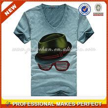 V cuello camiseta lisa( ycs-019)