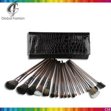 Accept wholesale and mixed order 18 pcs coffee color with PU bag private label makeup brush